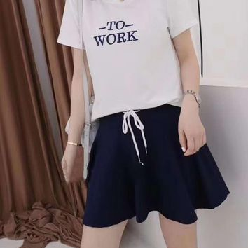 Woman's Leisure  Fashion Letter Printing Short Sleeve Elastic Band Short Skirt Two-Piece Set Casual Wear