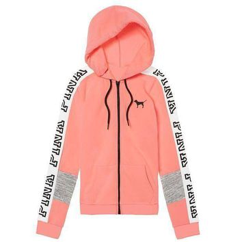 Kalete Victoria's Secret Pink Letter Print Trending Women Casual Zipper Hoodie Sweater Stitching And Pink I