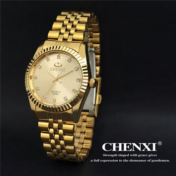 Hot 2015 Man Business Watches Brand CHENXI Full Steel Strap Gold Dress Quartz Wrist watches Sport Watch for Men Casual Watches