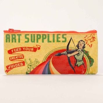 Art Supplies Blue Q Pencil/Accessory Case with 4 Pencils.  Carrying Case.
