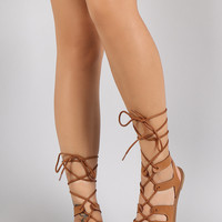 Qupid Strappy Lace Up Open Toe Gladiator Flat Sandal