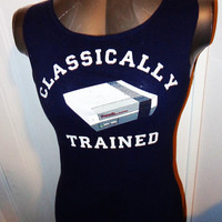 Ladies Juniors Nintendo Classically Trained handmade DIY tank top. Awesome for the gamer and nerd in you Vintage video game shirt.