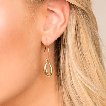 Natural Treasures Gold Cowry Shell Hoop Earrings