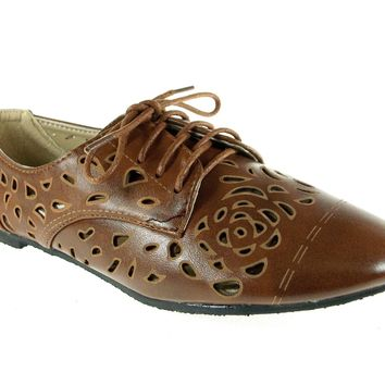 Women's Blue Berry Laser Cut Bluchers Shoes Stacy-25 Tan