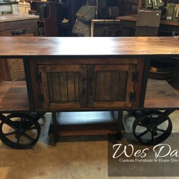 Handmade Solid Wood Media Console Cabinet Cart