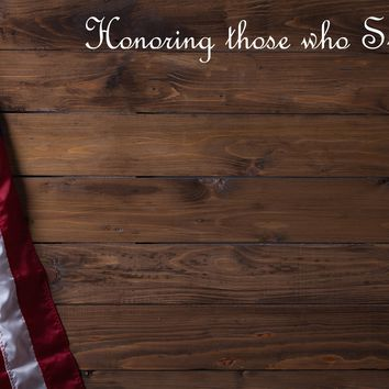 Custom Honoring those who Served American Flag Brown Wood Siding Mural Wallpaper Peel and Stick