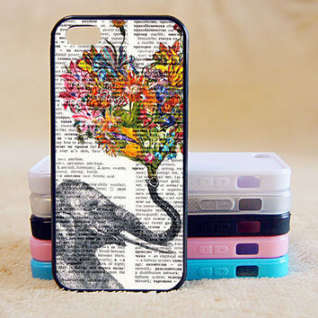 Elephant,Flower,, iPhone 4/4s/5/5s/5C, Samsung Galaxy S2/S3/S4/S5/Note 2/3, Htc One S/M7/M8, Moto G/X