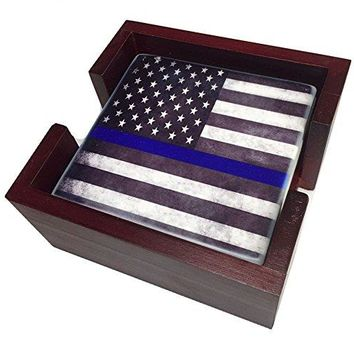 Thin Blue Line American Flag Law Enforcement 4 Sandstone Coaster Set (Wood Holder)