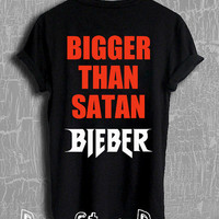 Justin Bieber Shirt Bieber Bigger Than Satan Shirt Purpose Tour Merch Tshirt Unisex Size T-Shirt