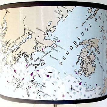 MidCoast Maine Nautical Drum Lamp Shade - Blue and White Lamp Shade with a Penobscot Bay, Maine Chart Map from Bath to Bar Harbor Design