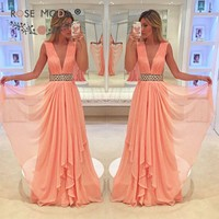 Sexy Deep V Neck Sleeveless Pink Evening Dress Floor Length Low V Back with Formal Party Dress Custom Made