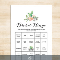 Bridal Shower Bingo Game DIY // Pink Flowers and Cactus Succulent // Mexican Fiesta // Bridal Bingo PDF // 50 Cards ▷ Instant Download