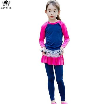DCCKL6D MANYIER Lovely Girls Swimsuit 2017 Children Camo Swimming Clothes Cute Kids Bathing Suit Swim Suit Long Sleeve Top Board long