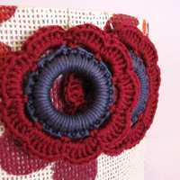 Handmade crochet flower earrings, garnet and grey