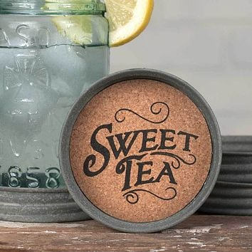 Set of 4 Mason Jar Lid Coasters - Sweet Tea