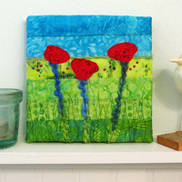 Small Mini Poppy Art Quilt, Red Fabric Floral Wall Hanging, Field Landscape Fiber Art