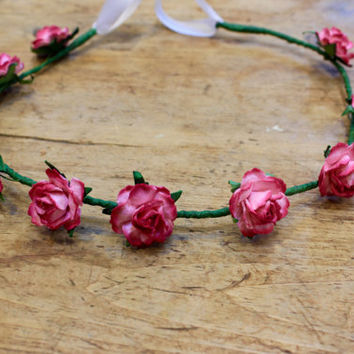 Hot pink flower crown, pink flower crown