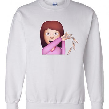 Girl Emoji Make It Rain $$ Crewneck Sweatshirt