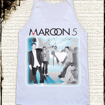 Size M -- MAROON 5 Shirts Alternative Rock Shirts Women Shirts Vest Tank Top Women Tunics Sleeveless Singlet White Shirts maroon 5 T Shirts