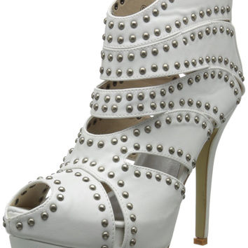 Caged Studded Cut Out Open Toe Stiletto High Heel Platform Ankle Booties