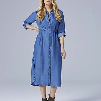 Soft Lyocel Denim Longline Shirt Dress | SimplyBe US Site