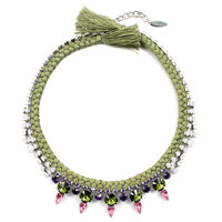 Self Centered Crystal & Braided Cotton Necklace - White/ Tanzanite/ Rose