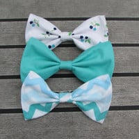 The Blues set of Three Blue Hair Bows (one teal, one blue chevron, and one white with blueberries)