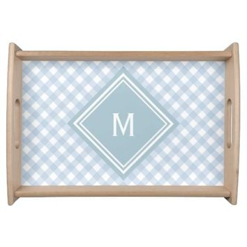 Faded Blue Gingham with Diamond Monogram Serving Tray