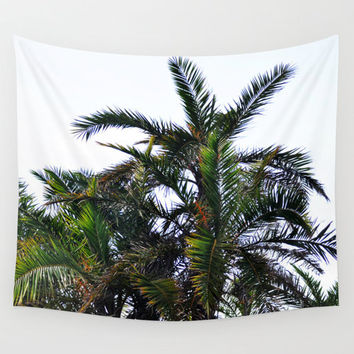 Coconut Palm Cluster - Wall Tapestry, White and Green Palm Fronds Beach Surf Style Home Decor Wall Art Accent Hanging. In Small Medium Large