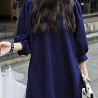 Loose Shift Dress with Puff Sleeves - Choies.com