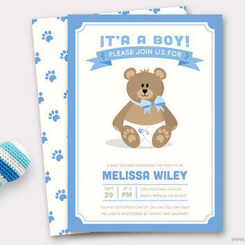 Boy Teddy Bear Baby Shower Invitation Printable, Baby Shower Invite, Diaper Raffle Ticket, Baby Thank You Card Printable, Custom Colors DIY