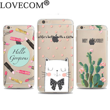 Soft TPU Phone Case For iPhone 4 4S 5C 5 5S SE 6 6S 6Plus 6SPlus Cute Pet Cat Dog Cactus Lipstick Phone Back Cover Coque