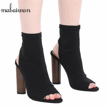 2017 New Fashion Stretch Fabric Women's Shoes Thigh High Heels Boots Peep Toe Over The