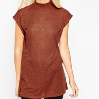 ASOS Sleeveless Tunic Top With Side Split And Polo Neck In Interest Rib