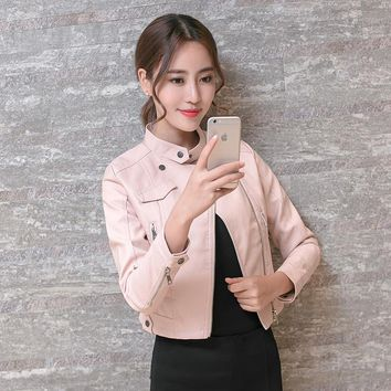 spring autumn women fashion elegant PU leather coat jacket women casual slim leather coat jacket