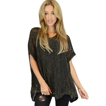 Knitted top with lurex accents