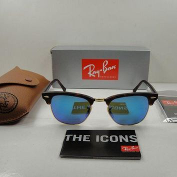 Kalete RAY-BAN CLUBMASTER SUNGLASSES RB3016 114517 TORTOISE/BLUE FLASH LENS 49MM