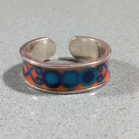 Sterling Silver Toe Ring Colorful Blue Orange Geometric Shapes 5.5 mm wide One Size Fits Most 925 Sterling Silver Adjustable Fit