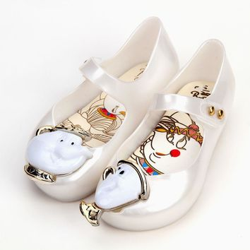 Melissa Teacup Sandals 2018 New Spring Kids Sandals Beauty Beast Girls Shoe Jelly Sandals Non-slip Kid Shoes
