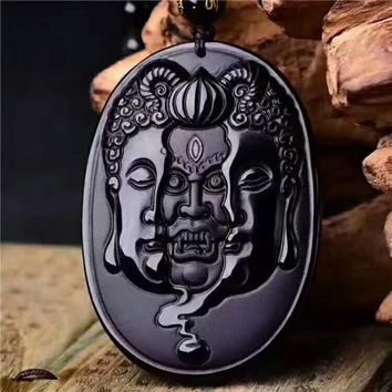 Natural Obsidian Buddha and Devil Necklace Pendant Jewelry With Certificate