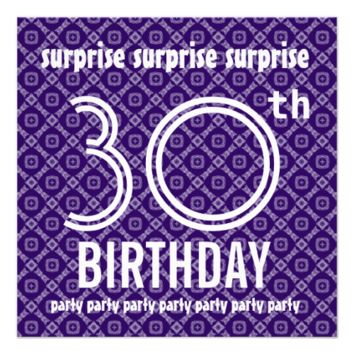 SURPRISE 30th Birthday Party Purple Diamonds V07A Custom Invitations