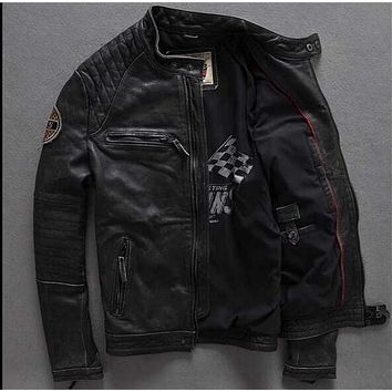 2017 Male Leather Jacket European And American Fashion biker jacket leather vintage Punk Zipper winter Motorcycle jackets M-XXXL