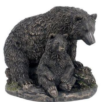 Mother Brown Bear and Baby Cub Sitting Bronze - 8333