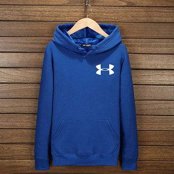 Under Armour Unisex Print Long Sleeve Sweater Pullover Hoodie Sweatshirt Top Blue I-YSSA-Z