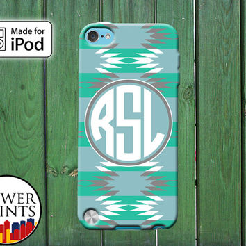 Mint Blue Tribal Aztec Pattern Cute Custom Monogram Initials for iPod Touch 4th Generation and iPod Touch 5th Generation Gen Plastic Rubber