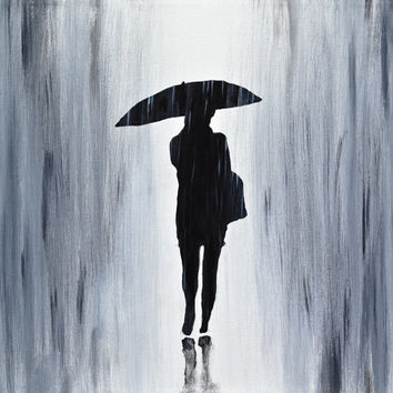 Abstract Painting original gray umbrella rain contemporary painting abstract acrylic painting