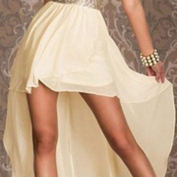 White Sequined High-Low Chiffon Dress
