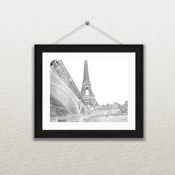 Eiffel Tower Sketch- Paris France Sketch 8x10 Abstract Drawing seine river,  bridges, paris, france, ink drawings