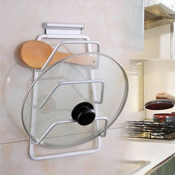 Space aluminum 3 layers pan pot cover lid storage rack holder wall kitchen storage holders organizer racks for dishes with screw
