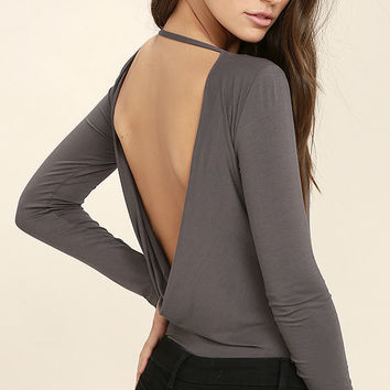 Hype-Worthy Dark Grey Backless Bodysuit